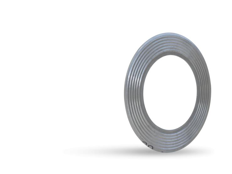 Corrugated metal gasket on white background.