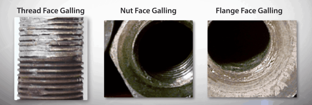 Three forms of galling: On the bolt, nut, and flange face (from left to right)